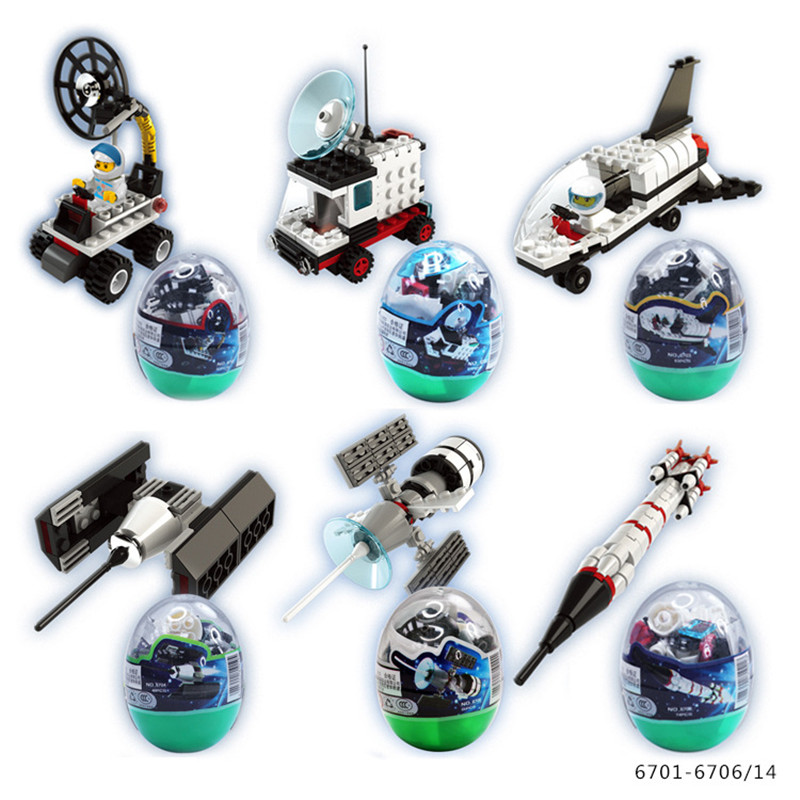 6eggs/lot Space Aircraft Spacecraft Rocket egg blocks for children kids creative toys birthday Christmas gift 6701 6706 cheap 1pcs lot 6 3cm creative cartoon jordan 1 generation of sports shoes metal keychain toys kids baby toys birthday gifts