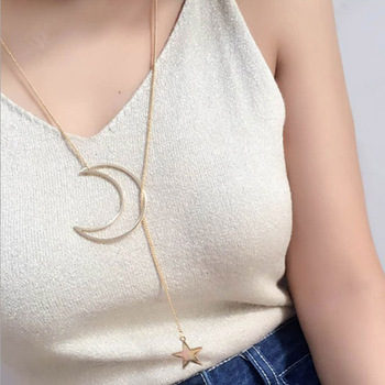 Luna dorada caliente estrella, sol colgante collares media luna collares con pendientes largos para las mujeres joyería de moda