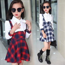 Girls Dresses Long Sleeve England Style Cotton Plaid Kids Dresses For Girls Clothes False Two Pieces School Girls Blouses