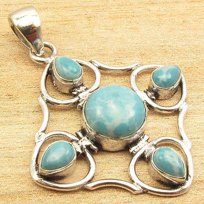 1 7/8 Inches Handwork Pendant ! CAB LARIMAR 5 Gem Stone SILVER PLATED Art Jewelry