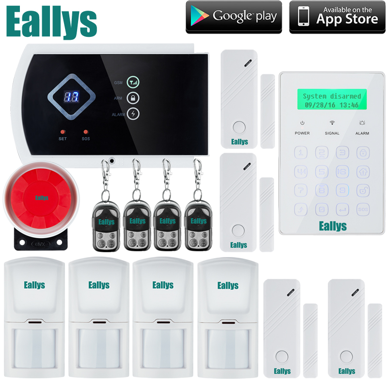 Quad-band Touch panel gsm alarm system IOS android APP home security Wireless and Wired System Built-in speaker for intercom puledro 333709