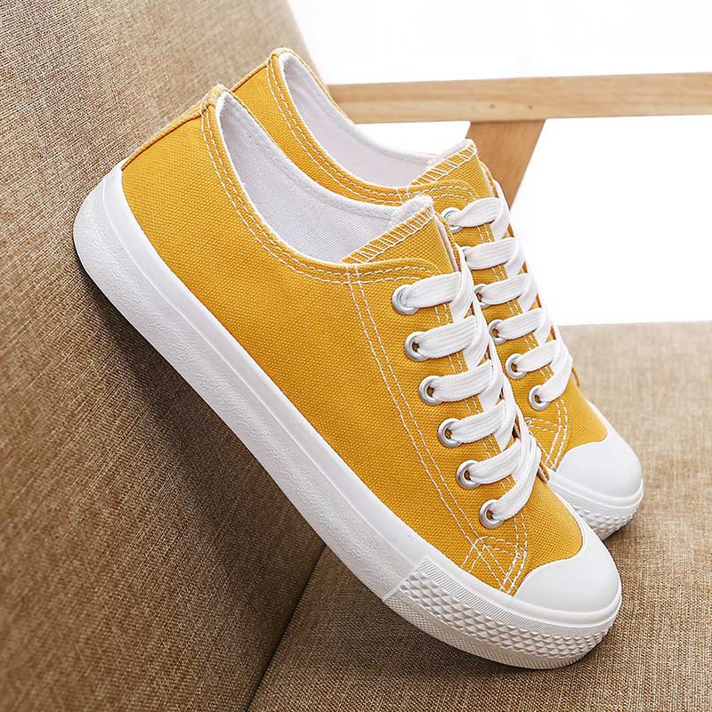 Image 4 - Casual shoes women sneakers 2019 new fashion lighted solid canvas adult sneakers women shoes lace up flat with women sneakers-in Women's Vulcanize Shoes from Shoes
