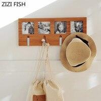 50*20cm Natural bamboo Clothes Hanger Wall Mounted Sundries Handbag Hat Scarf Hook Decorative Key Holder Bathroom Storage Rack