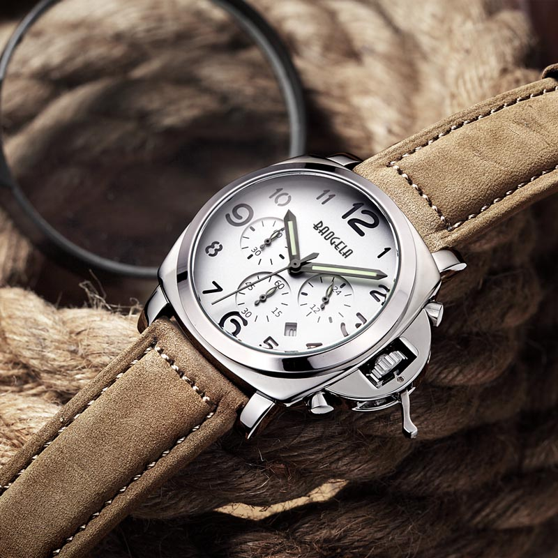 BAOGELA Watches Men's Fashion Business Quartz Watch with Brown Leather Classical Watch Strap Analog Casual Watches Quartz цена и фото