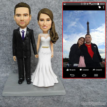 OOAK CUSTOMงานแต่งงานเค้กTopperงานแต่งงานส่วนบุคคลbobblehead figurinesตุ๊กตาBobble HEADตกแต่งเค้กแต่งงานประติมากรรม