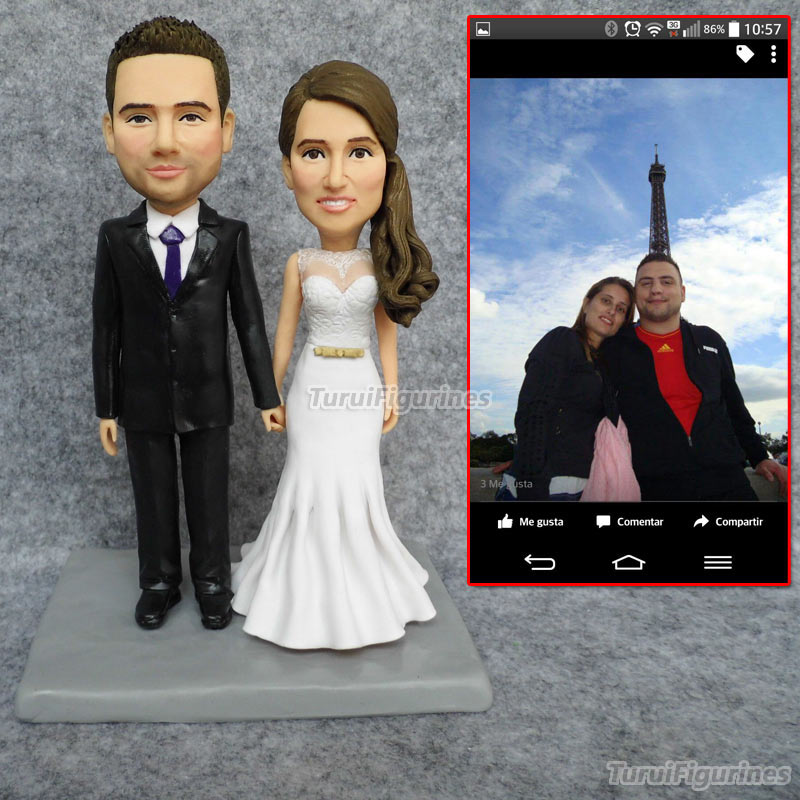 Ooak Custom Wedding Cake Topper Wedding Personalized Bobblehead Figurines Dolls Bobble Head  Cake Decoration Wedding Sculpture