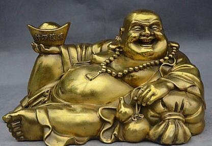 9 China Buddhism Brass Wealth Mammon Maitreya Buddha Hold Yuanbao Lucky Statue9 China Buddhism Brass Wealth Mammon Maitreya Buddha Hold Yuanbao Lucky Statue