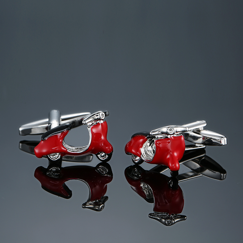 Fashion red Motorbike Design Cufflinks High Quality Enamel Cuff links motorcycle style cufflinks for mens shirt cuff cufflink