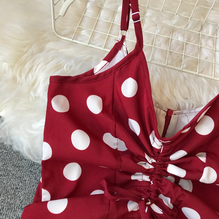 Women Beach Red Dress 2019 Summer New Seaside Holiday Sleeveless Dot Print Casual Vestidos E496 61