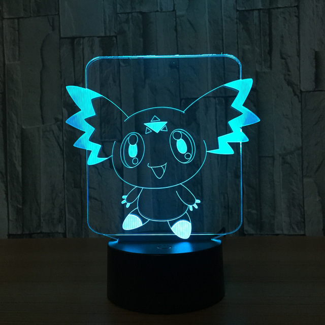 Pokemon 7 Color Lamp 3d Visual Led Night Lights For Kids Touch Usb ...