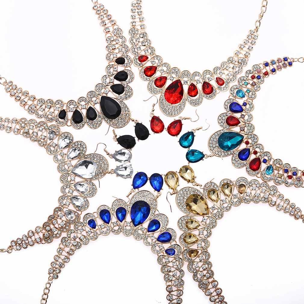 נשים יוקרה ריינסטון שרשרת עגיל סט חתונה שושבינה כלה תכשיטים עם תליון ואטארדרוף בצורת תכשיטי סטים