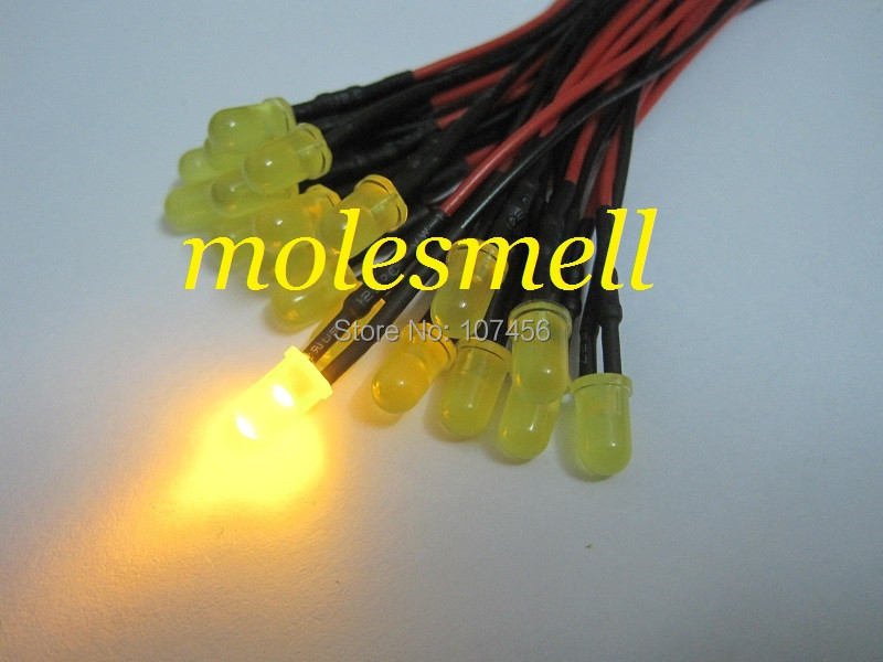 25pcs 5mm 5v Diffused Yellow 5V DC Yellow Lens 20cm Pre-Wired LED Light DIY Free Shipping