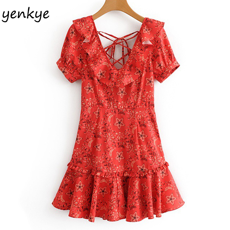 Fashion Women Red Floral Printed Sexy Backless Dress Female V Neck Short Sleeve A-line Ruffle Summer Beach Dress XNWM9255