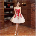 Vestido De Festa Curto Cute Short Homecoming Dresses Sweetheart Red Lace Appliques Ruched Tulle Junior Cocktail Party Prom Dress