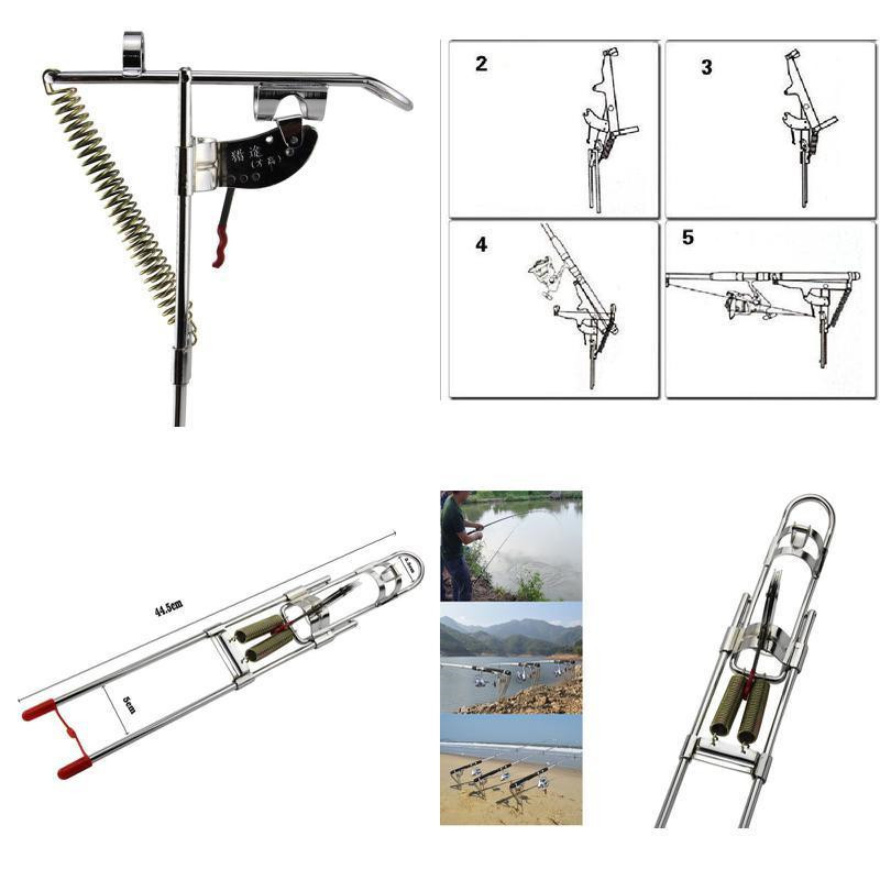 Fishing Rod Holder Automatic Spring Tip-Up Hook with Stainless Steel Ground Support Fish Pole Rack