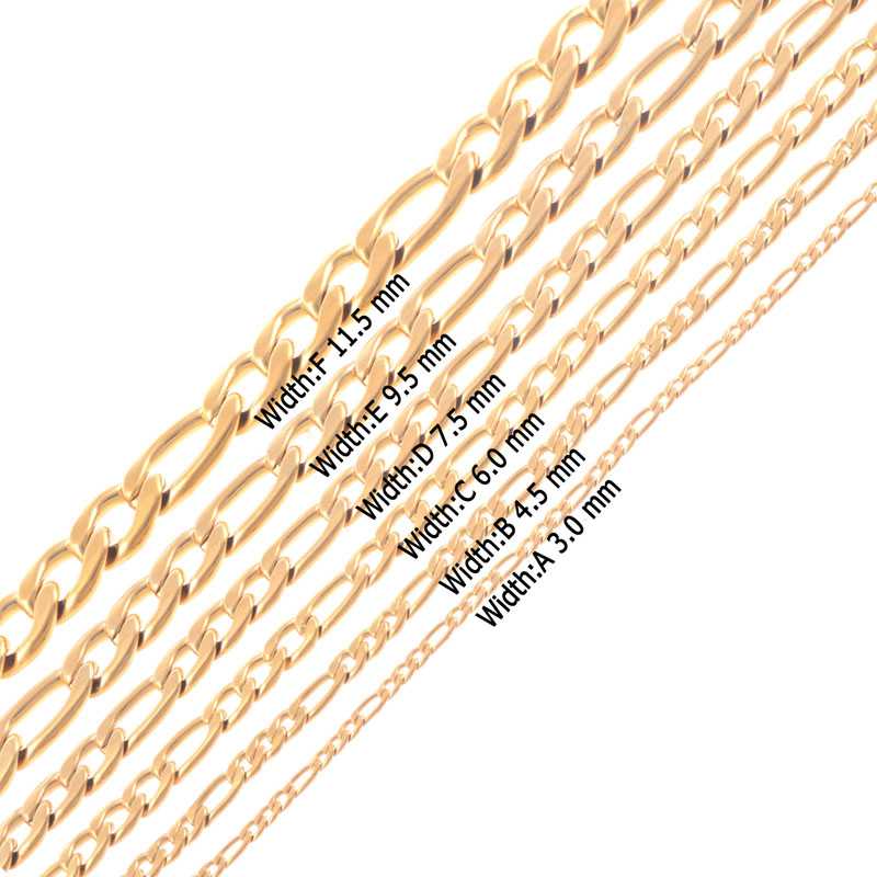 GN 3-7mm Men Women Silver Stainless Steel Figaro Chain Necklace Jewelry Conveni