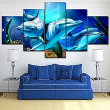 Canvas Print Type Home Decor Wall Art Picture 5 Piece Dolphin And Seahorse Starfish Painting For Living Room Animal Poster