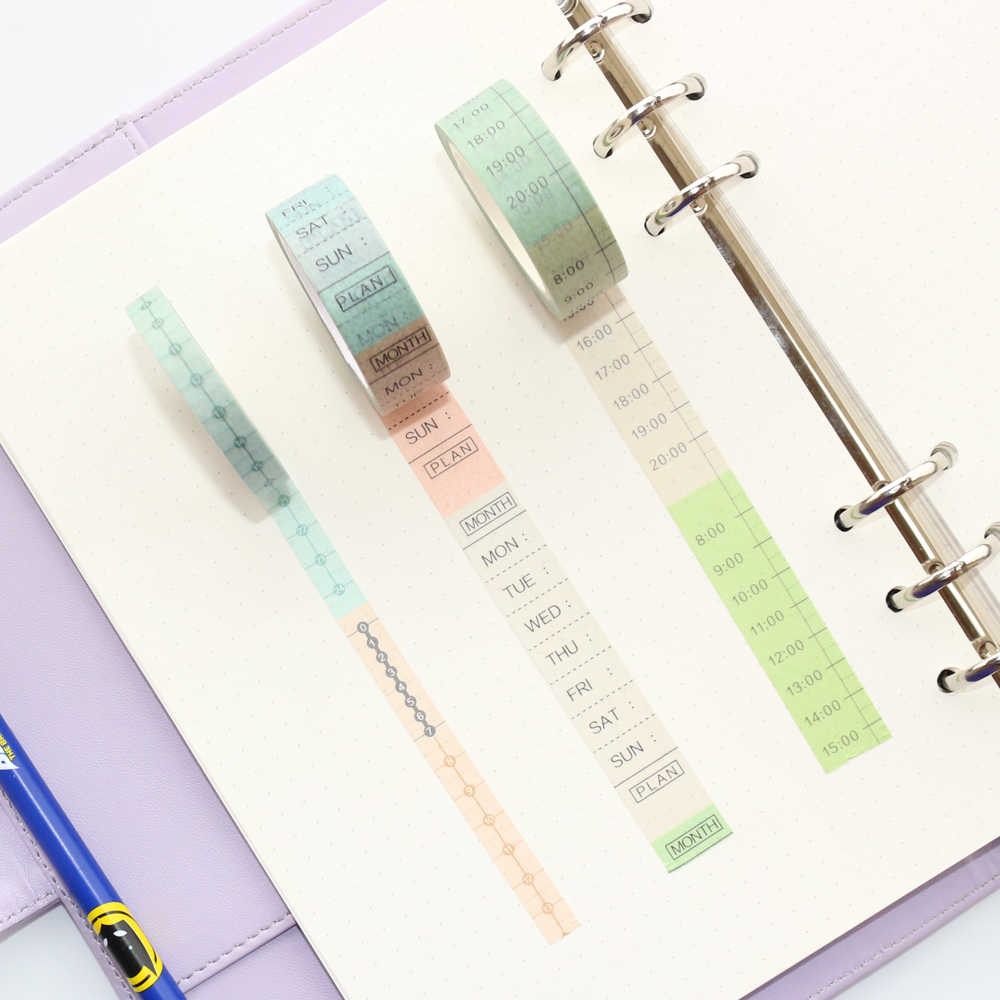 New creative colored school calendar time paper washi tape stationery:weekly time,daily time,8m