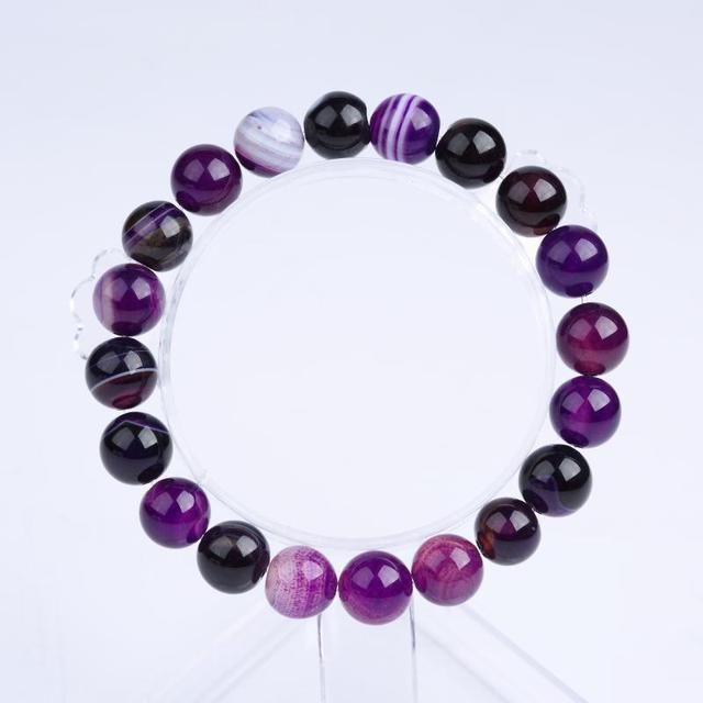 Meajoe Trendy Natural Stone Love Purple Bead Bracelet Vintage Charm Round Chain Beads Bracelets Jewelry For Women Friend Gift 2