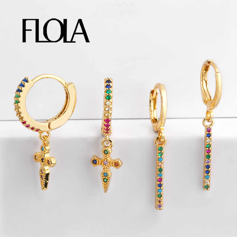 FLOLA Rainbow Gothic Cross Earrings Gold Tiny Stud Bar Earrings Aretes De Moda Huggie Jewelry Woman Cheap Stud Earrings ersq30