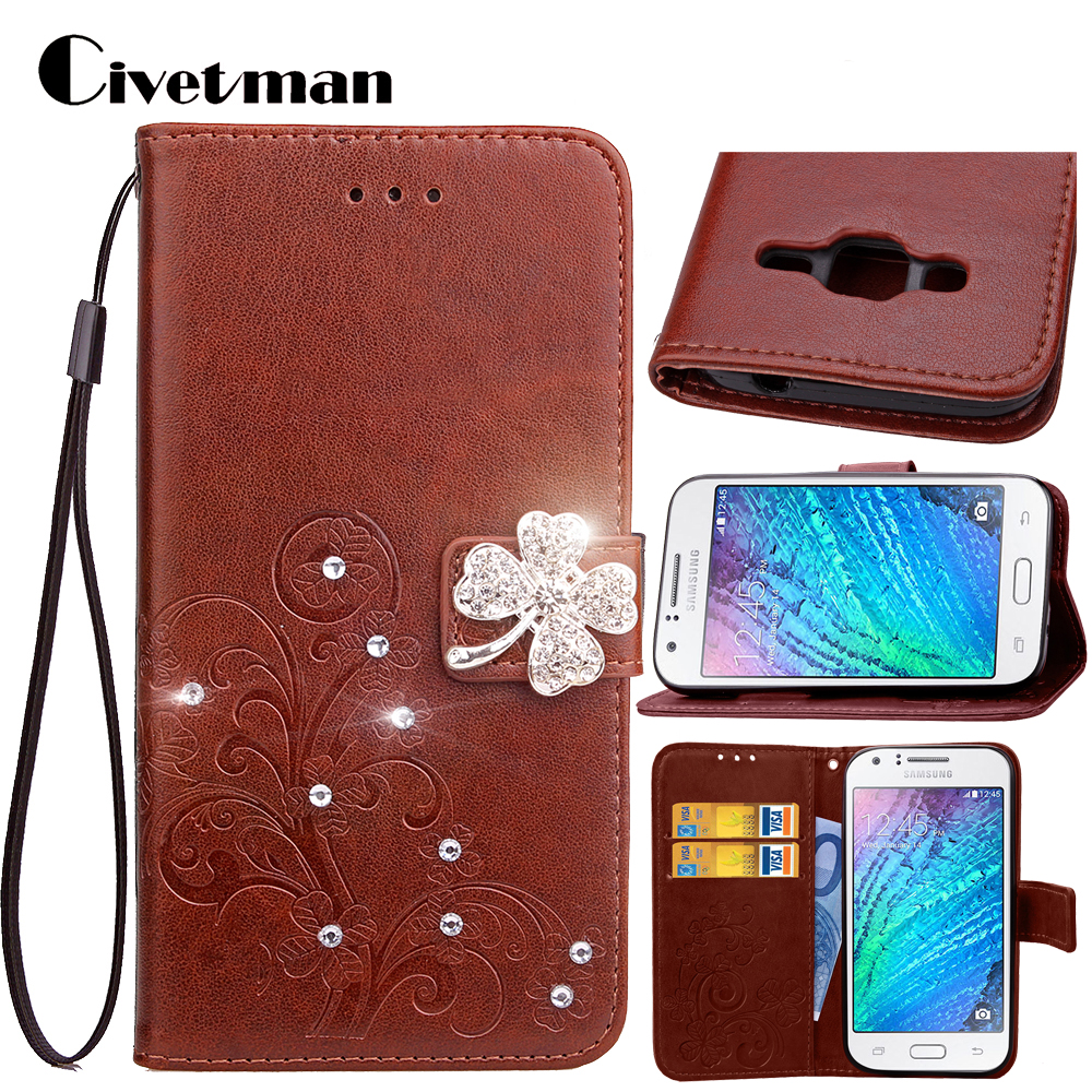Cover <font><b>Phone</b></font> <font><b>Case</b></font> <font><b>For</b></font> <font><b>Samsung</b></font> <font><b>Galaxy</b></font> J1 <font><b>J100</b></font> 2015 J100F J100H J1 Duos J100FN Flip 4.3 PU Leather Shell Clover Diamond Holster Bag image