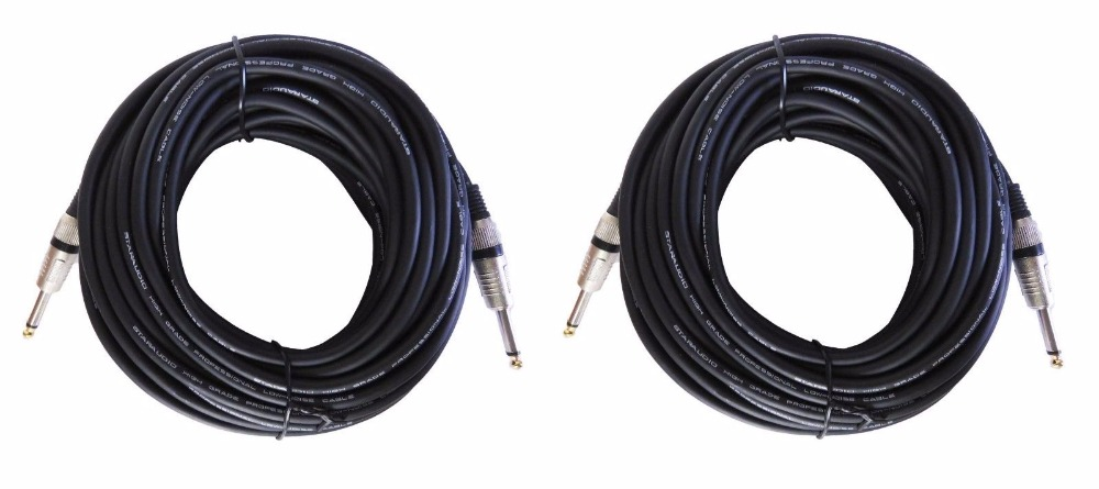 staraudio sssc 15m 2pcs 50 ft instrument guitar audio speaker cables 1 4 to 1 4 mono male. Black Bedroom Furniture Sets. Home Design Ideas