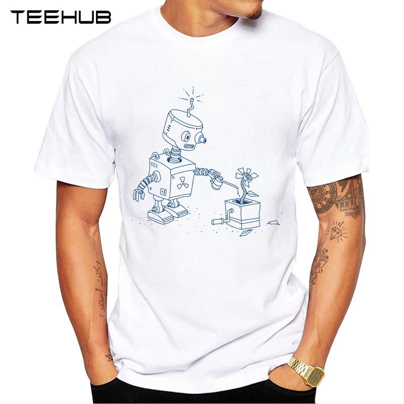 ed9166f65ad2 New Arrivals 2019 TEEHUB Cool Design Men s Fashion Robot Flower Printed T- Shirt Short Sleeve
