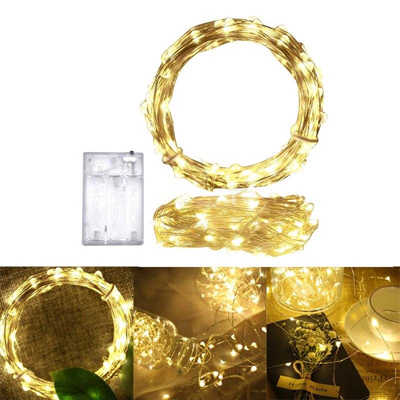 Weihnachten Licht 10 mt 100 Led Saiten Kupfer Draht Batterie Betrieben Weihnachten Hochzeit Party Dekoration LED String Fairy Lichter