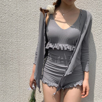 Swimsuits Closed Girls Bathing Suit Woman Swimsuit 2019 Bikini Push Up New Female Girl Solid Polyester Sierra Surfer Swimwear