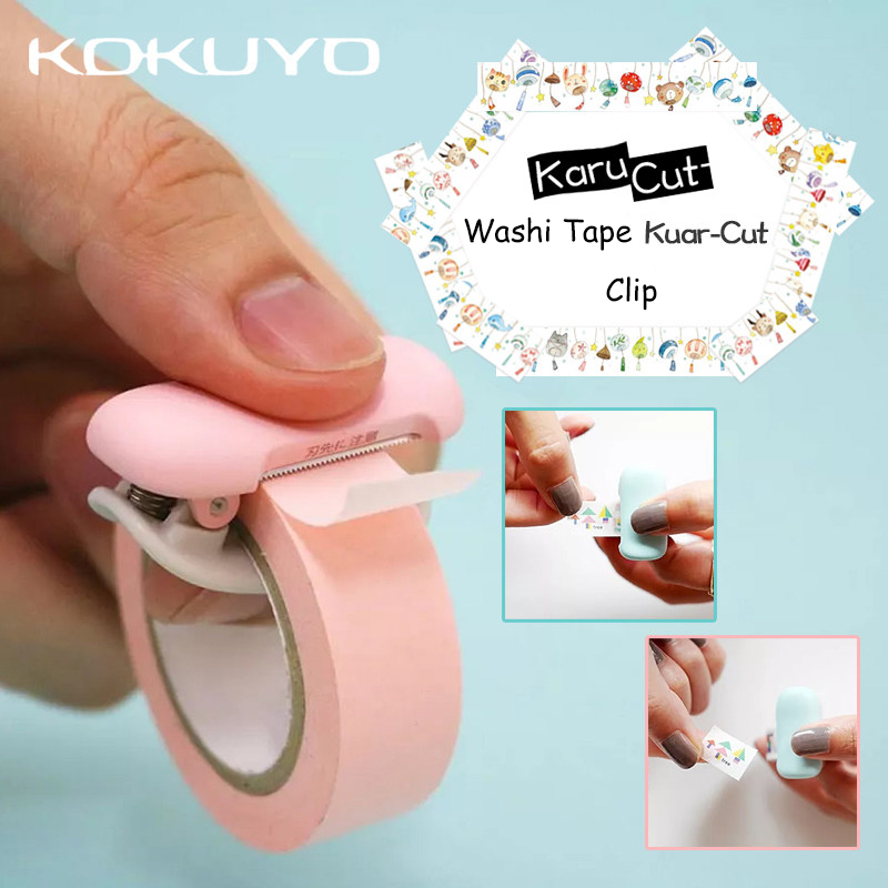 KOKUYO Karu Cut Tape Dispenser Small Size Washi Tape Holder Width 10-15mm Clip Easy Cut Tear Off Tape Without Scissors