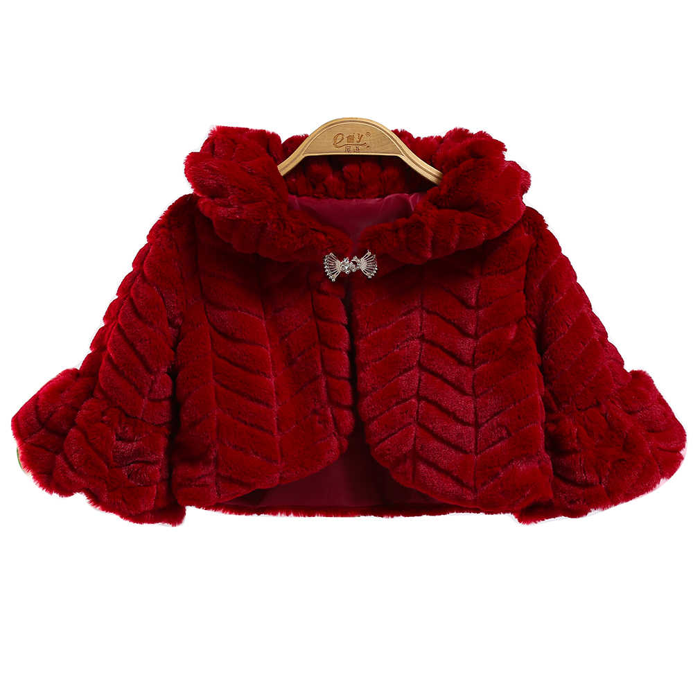 2018 Winter Faux Fur Girls Jackets Baby Coats Clothes Kids Cape Coat Warm Cloak Cardigan Children Clothing Girls Outerwear 3-10Y