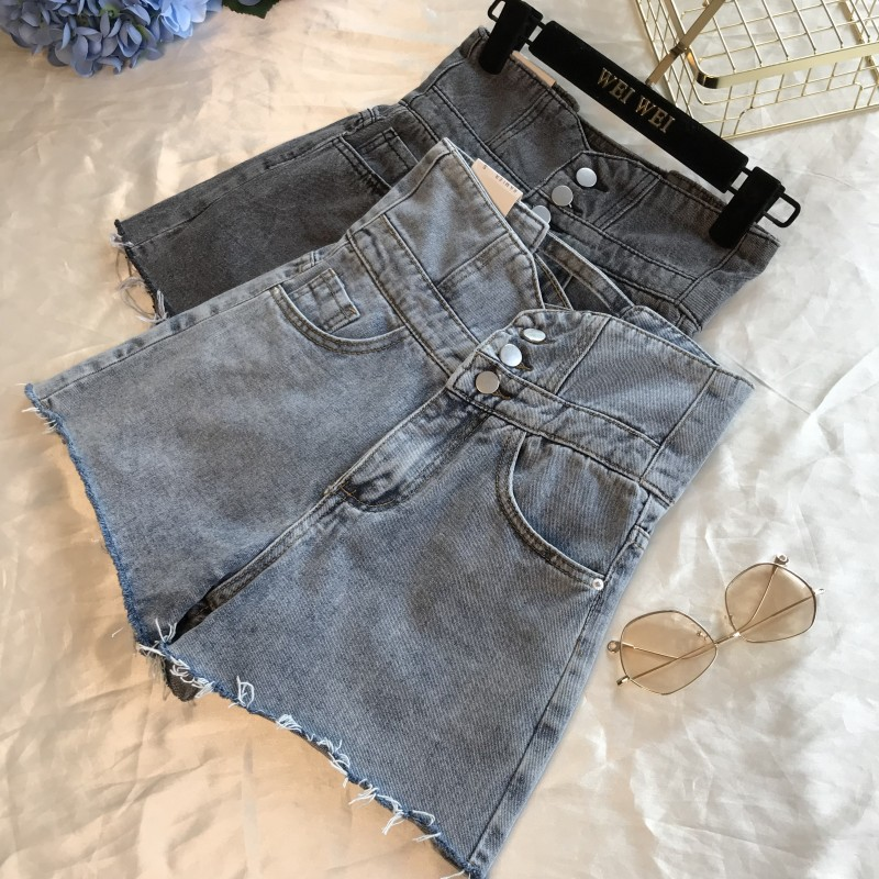 High Waist Short Jeans Women Spring Summer New Wide legged Pants Denim Female Back Cross Fur Edge Thin Hot Pants Students Jean