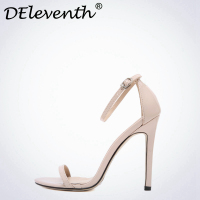 DEleventh Classics Sexy Women Red Wedding Shoes Peep Toe Stiletto High Heels Shoes Woman Sandals Black