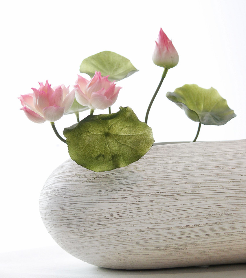 1pc Silicone Artificial Flower Lotus Flower Arrangement Bouquet For