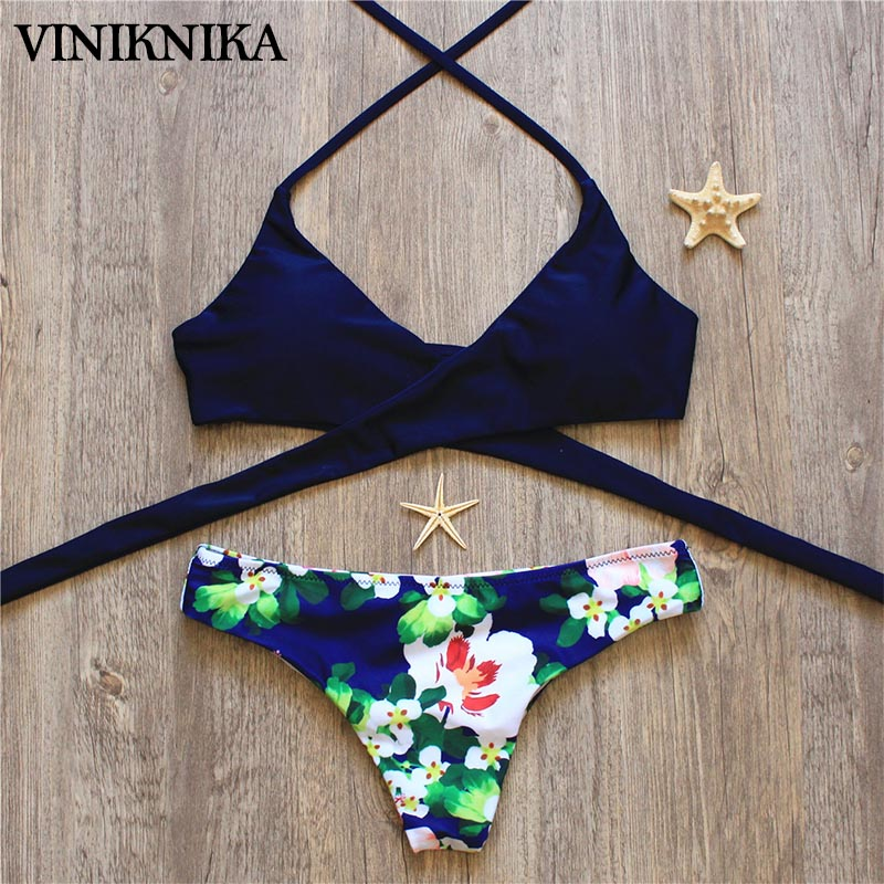 VINIKNIKA 2017 Hot Woman Bikini Swimsuit Sexy Lady Low Waist Cross Bikini Set New Summer Beach Brazil Swimwear