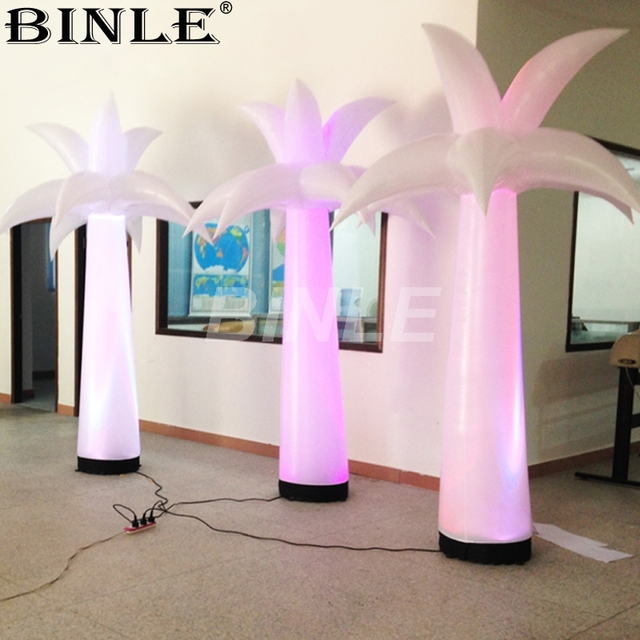 Wholesale portable decorative outdoor lighted artificial inflatable palm tree with lights for party