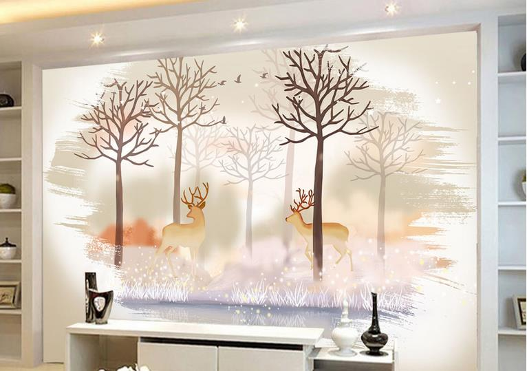 Custom Retro 3d Wall paper 3d Living Room Bedroom Hall Large Mural Deer forest 3d Wall Murals Whome Decor 3d stereoscopic large mural custom wall paper the living room backdrop bedroom fabric wallpaper murals 3d visual fake window