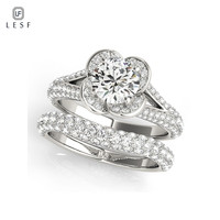 LESF Rings Sets 925 Sterling Silver Flower Shape Wedding ring Women Fashion Wedding Jewelry For Girls Engagement