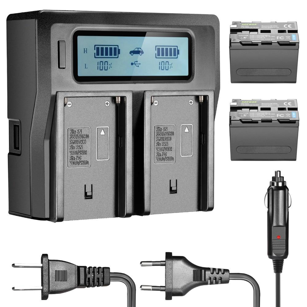 Neewer 2 pièces 6600 mah Remplacement Li-ion Batterie pour Sony NP-F970 NP-F970 NP-F960 NP-F975 NP-F570 NP-F750 NP-F770