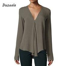 4d81ea8af59 Duzeala Осенняя винтажная женская шифоновая блузка с v-образным вырезом и  длинным рукавом Женская Туника