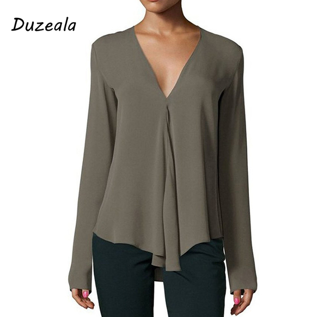 V neck Long Sleeve Blouse Shirt