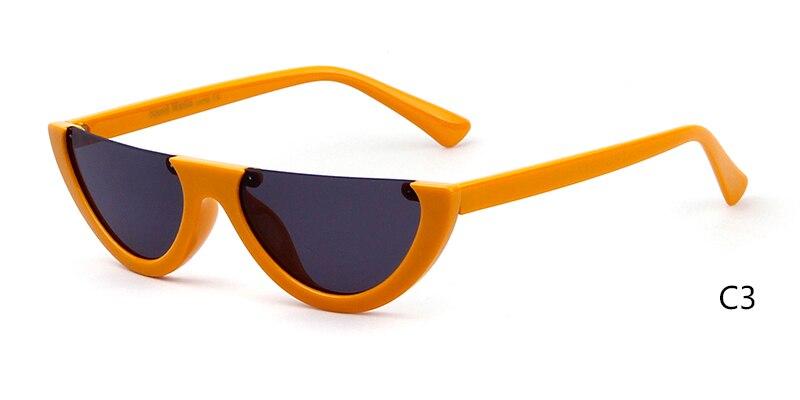013c87c7070d Detail Feedback Questions about 2019 Half Moon Slim Sunnies Sunglasses Women  Brand Designer Retro Vintage Pink Lens Cat Eye Frame Sun Glasses Girls  Shades ...