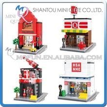 Full Set 4pcs/lot Mini Qute HSANHE food beverage pizza Shop kids diamond plastic building blocks model brick educational toy