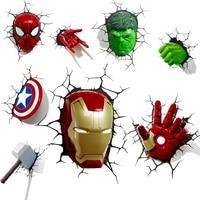 3D Wall Lamp Marvel Night Light Avengers Iron Man Captain America Spiderman Hulk Movie Fans Gifts Bedroom Bedside Presents Kid