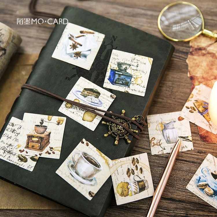 45pcs Lovely Coffee Workshop Shop Boxed Sticker Vintage Tea Cup Cafe Album Diary Lifelog Seal Decoration DIY Stickers Kids Gift