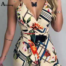 Sexy Bodysuits Women V Neck Boho Women With Belt Floral Print Romper Female Ruffle Sleeveless Casual Playsuit Jumpsuits Overalls floral print ruffle hem romper