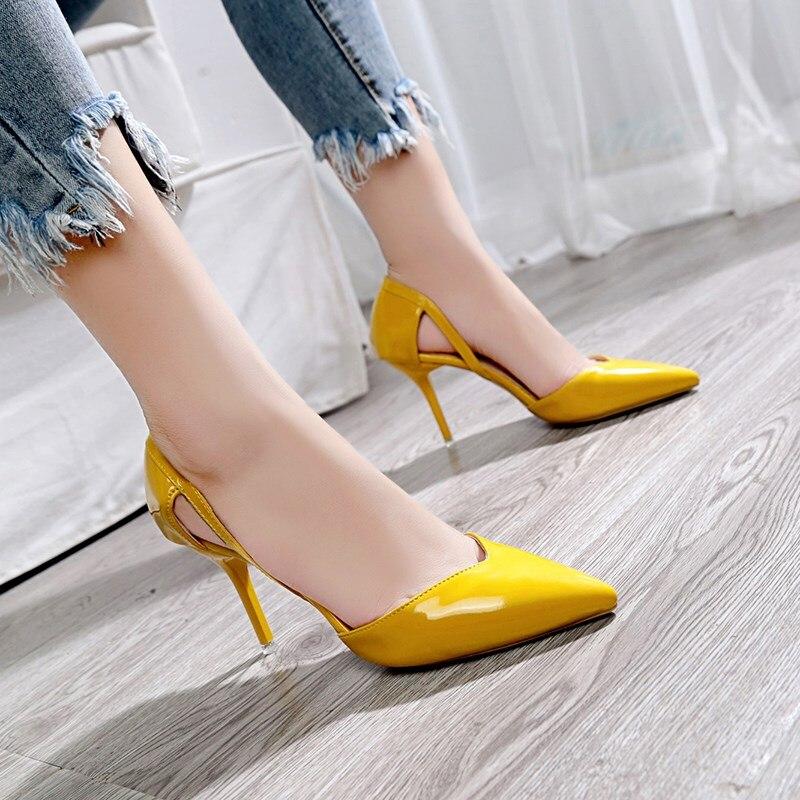 Profonde Beige Hauts 2019 Femmes Cuir Chaussures Nouvelle Bouche Verni jaune Talons Bureau Peu En Dames Mode Soirée noir Pointu Sexy De C0753 Hqawxz