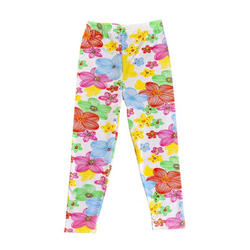 2017 New big child pants fashion flower print pants for girls sprint and autumn skinny kids girls pants girl full length legging