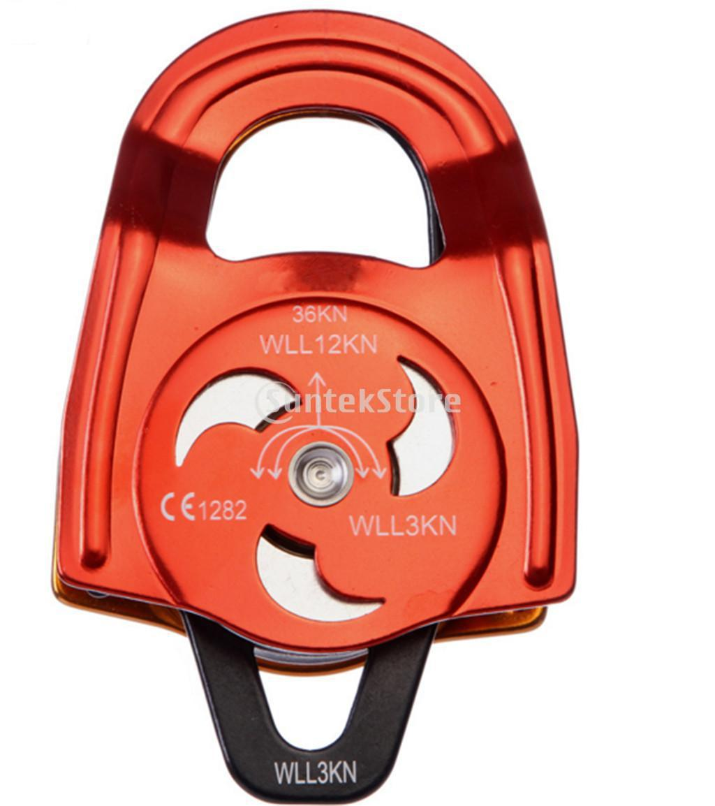 Mountaineering Climbing Rescue Equipment Aluminum Double Pulley 36KN p34 free shipping 36kn bearings from double magnesium aluminum alloy pulley for mountain climbing rappelling
