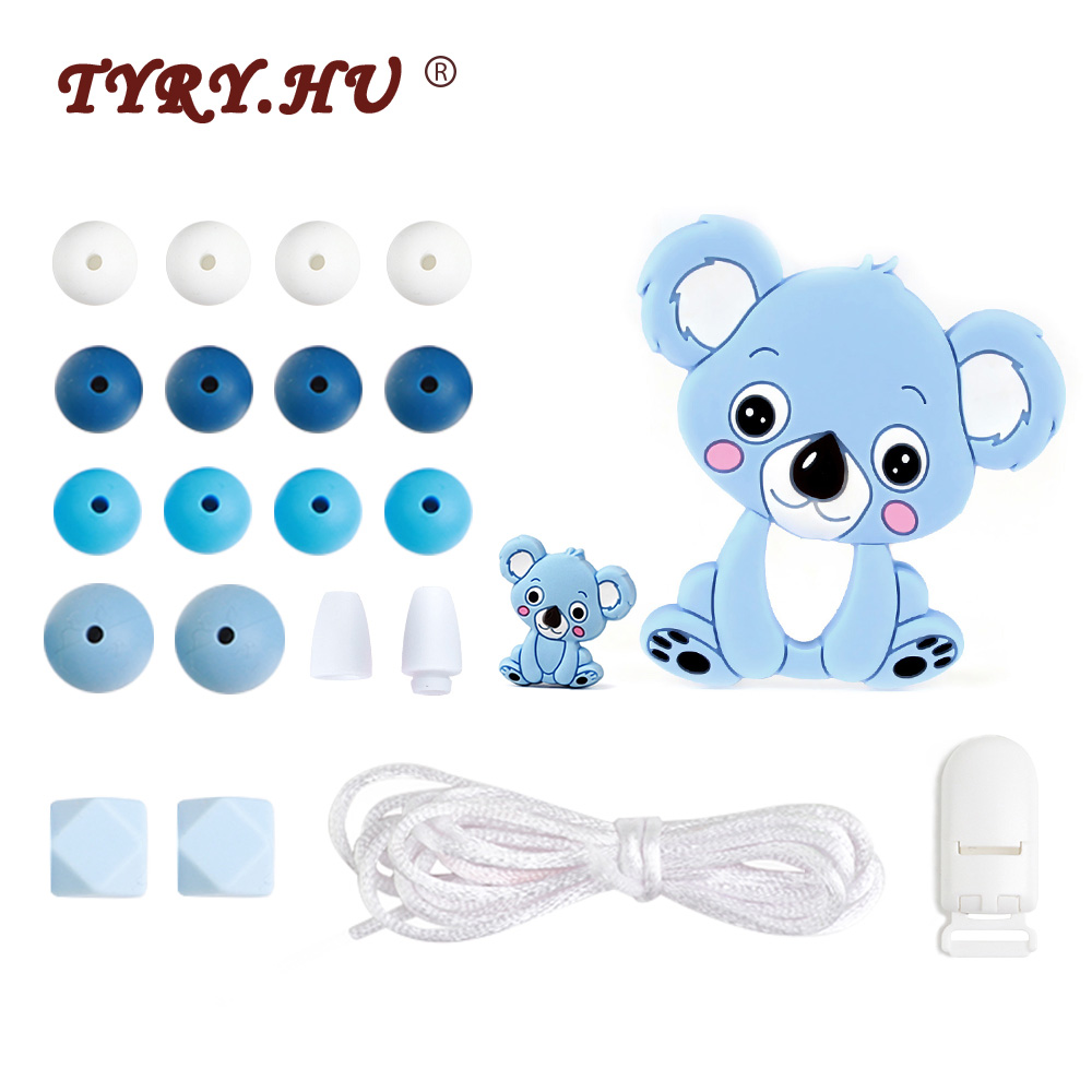 TYRY.HU Koala Baby Silicone Teether Beads DIY Set For Baby Teething Necklace Silicone Beads Food Grade Silicone Necklace Toy
